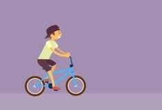 Vektor för lägenhet för Little Boy ridningcykel stock illustrationer