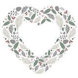 Vektor för lägenhet för julhjärtasammansättning stock illustrationer