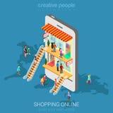Vektor för lägenhet mobil för shoppinge-kommers isometrisk online-lager royaltyfri illustrationer