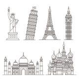 vektor för landmark för designsymbolsillustration dig Staty av frihet, torn av Pisa, Eiffeltorn stock illustrationer
