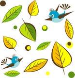 vektor för leaf för bakgrundsfågelillustratio Royaltyfri Bild