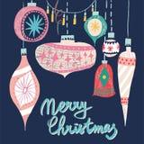 Vektor för leksaker för julgran för modell för collage för nytt år för ferie för Retro tappningkonst härlig konstnärlig skandinav stock illustrationer