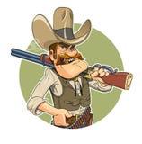 vektor för liggande för tryckspruta för tecknad filmfärgcowboy vektor illustrationer