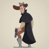 vektor för liggande för tryckspruta för tecknad filmfärgcowboy roligt tecknad filmtecken royaltyfri illustrationer