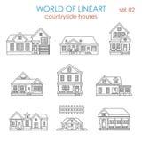 Vektor för lineart för radhus för arkitekturbygdhus Fotografering för Bildbyråer