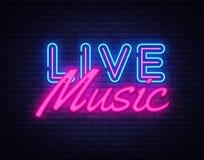 Vektor för Live Music neontecken Tecken för neon för Live Music designmall, ljust baner, neonskylt, nightly som är ljus royaltyfri illustrationer