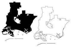 Vektor för Long Beach stadsöversikt vektor illustrationer