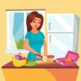 Vektor för lunchask Klassisk lunchask med smörgåsen, grönsaker, vatten, mandlar, frukter Kvinna i kök som förbereder A stock illustrationer