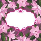 Vektor för magnoliablommaram royaltyfria bilder
