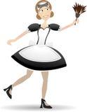 vektor för maid för illustration för tecknad filmdammtrasaholding Royaltyfri Fotografi