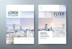 Vektor för mall för design för årsrapportbroschyrreklamblad, broschyr pre stock illustrationer