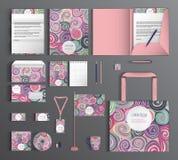 vektor för mall för identitet för illustrationsaffär företags Ställ in med färgrika designer Arkivbilder