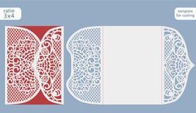 Vektor för mall för kort för inbjudan för laser-snittbröllop Klipp det pappers- kortet med snör åt ut modellen Royaltyfri Foto