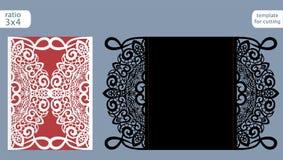Vektor för mall för kort för inbjudan för laser-snittbröllop Stansad det pappers- kortet med den abstrakta modellen Kort för veck Royaltyfri Fotografi