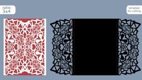 Vektor för mall för kort för inbjudan för laser-snittbröllop Stansad det pappers- kortet med den abstrakta modellen Kort för veck Royaltyfria Foton