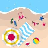 Vektor för mall för sommarsymbol fastställd Sommarsymboler som planläggs trevligt i geometrisk stil som använder översikter med t stock illustrationer