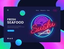 Vektor för mall för sushibanerdesign Havs- rengöringsdukbanermanöverenhet, neontecken, modern trenddesign, baner för neonstilreng stock illustrationer