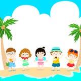Vektor för mall för ungar för Hello sommar mångkulturell gullig Arkivbilder