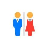 Vektor för man- och kvinnatoalettsymbol, fyllt plant tecken, fast färgrik pictogram som isoleras på vit vektor illustrationer