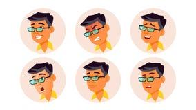 Vektor för manAvatarfolk Korean som är thailändsk, vietnames Ansikts- sinnesrörelser Användareperson Uttrycksfull bild Nätt använ royaltyfri illustrationer