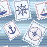 vektor för marin- modell för illustration seamless Royaltyfri Fotografi
