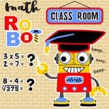 Vektor för matematikrobottecknad film med ungkarlhatten royaltyfri illustrationer