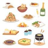 Vektor för maträtt för platta för fransk för kokkonst traditionell för mat läcker för mål sund för matställe fransman för lunch k royaltyfri illustrationer