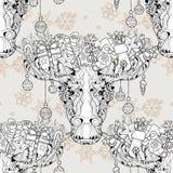 Vektor för modell för head älg för jul sömlös royaltyfri illustrationer