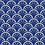 Vektor för modell för vågor för indigoblå blått och för vit för sömlöst porslin japansk blom- Royaltyfria Bilder