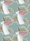 Vektor för modell för nytt år för ängelmusikjul blå rosa sömlös texturerad målarfärg stock illustrationer