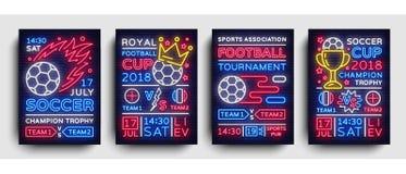 Vektor för neon för fotbollsamlingsaffischer Vykort 2018, reklambladdesignmall, ljust baner för fotbollkoppmästerskap Royaltyfria Bilder