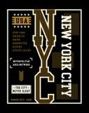 Vektor för New York City T-tröjadiagram Arkivfoto