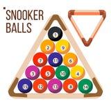 Vektor för pölBilliardbollar snooker Träkugge Isolerad plan illustration vektor illustrationer