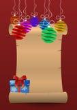 vektor för papper för bokstav för illustration för järnek för ferie för julkuvertgran Royaltyfri Bild