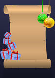 vektor för papper för bokstav för illustration för järnek för ferie för julkuvertgran Royaltyfria Bilder