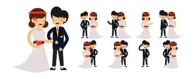 Vektor för par för brölloptecken gullig royaltyfri illustrationer