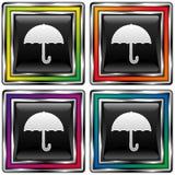 vektor för paraply för knappsymbolsfyrkant Stock Illustrationer