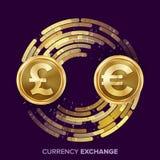 Vektor för pengarvalutautbyte GBP euro Guld- mynt med den Digital strömmen Kommersiell operation för omvandling för stock illustrationer