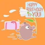 vektor för pig för födelsedagkort rolig Royaltyfria Foton