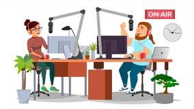 Vektor för för radiodiscjockeyman och kvinna _ Modern radiostationstudio Tala in i mikrofonen På luft Royaltyfri Bild