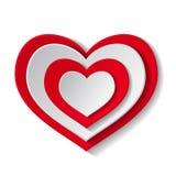 vektor för red för hjärtaillustrationpapper Arkivbild