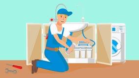 Vektor för RepairmanChanging Water Filter kassetter stock illustrationer