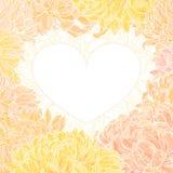 vektor för romantiker för chrysanthemumramhjärta royaltyfri illustrationer