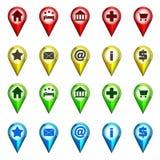 Vektor för samling för destinationssymbolsnavigering Fotografering för Bildbyråer
