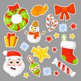 Vektor för samling för julklistermärkear fastställd cartoon Traditionella symboler för nytt år symbolsobjekt isolerat royaltyfri illustrationer