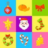Vektor för samling för julsymbolsuppsättning cartoon Traditionella symboler för nytt år symbolsobjekt isolerat stock illustrationer