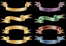 vektor för scroll för banerflaggaband set Arkivfoto
