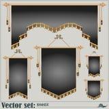 vektor för set för tecknad filmhjärtor polar baner av olika former och format Royaltyfria Bilder