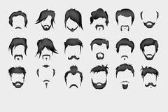 vektor för set för tecknad filmhjärtor polar hår mustasch, skägg stock illustrationer