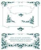 vektor för set för tecknad filmhjärtor polar Heraldisk ram med växter, vapnet och skölden Royaltyfri Fotografi